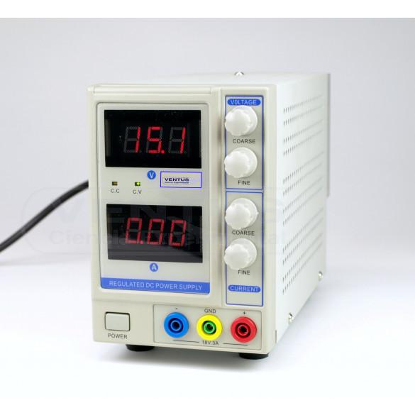 Fuente alimentación 0-18 VCC / 0-3 A