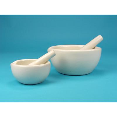 Mortero porcelana con mano, 80 mm Ø